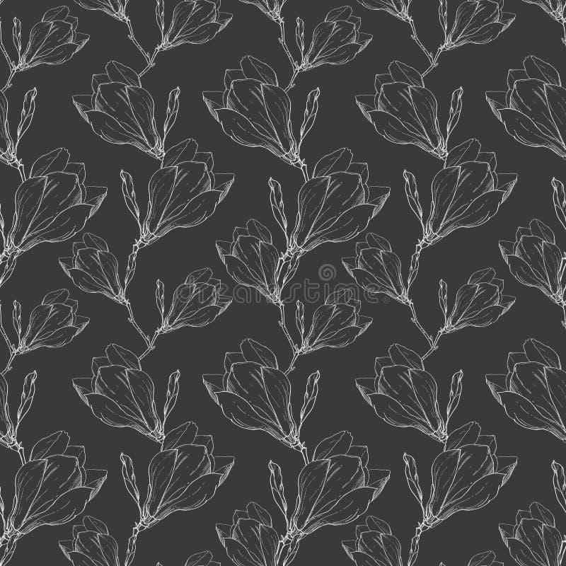 Магнолия черного белого шнурка вектора винтажная цветет рука картины ткани ретро повторяя безшовная нарисованная в ботаническом с бесплатная иллюстрация
