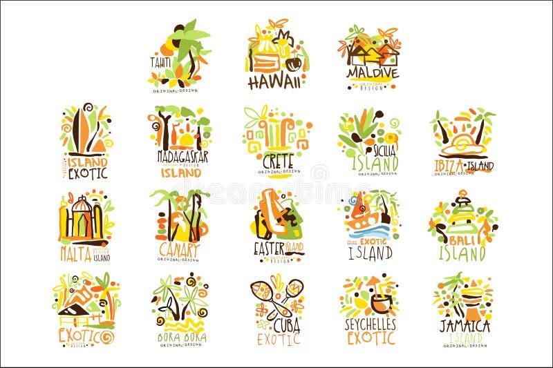 Мадагаскар, Крит, Бали, Сейшельские островы, Ibiza, набор курорта Ямайки для дизайна ярлыка Туризм пляжа лета и вектор остатков иллюстрация штока