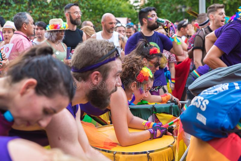 Мадрид, Испания - 7-ое июля 2019 - гей-парад, музыка гей-парада Orgullo стоковое фото