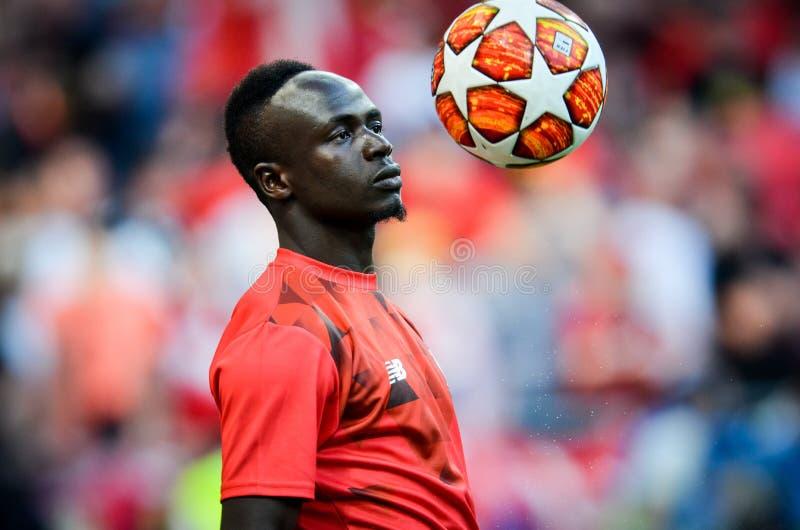 Мадрид, Испания - 1-ОЕ МАЯ 2019: Игрок гривы Sadio во время финального матча 2019 лиги чемпионов UEFA между FC Ливерпулем против стоковые изображения