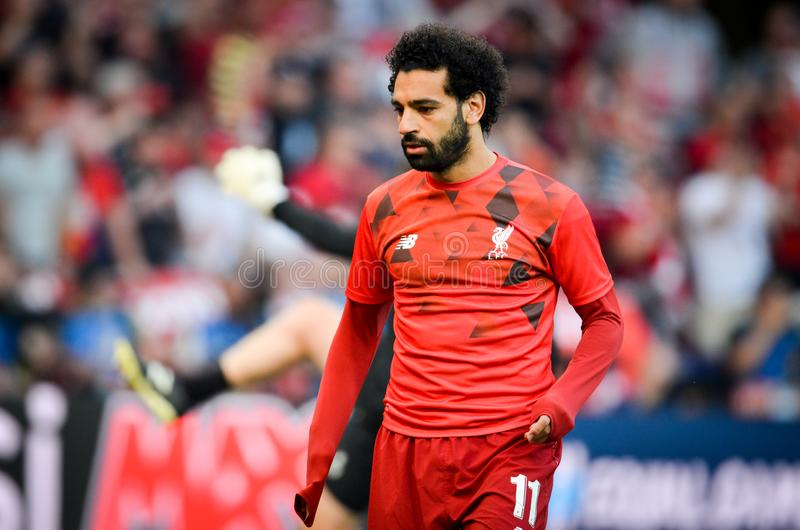 Мадрид, Испания - 1-ОЕ МАЯ 2019: Mohamed Salah во время финального матча 2019 лиги чемпионов UEFA между FC Ливерпулем против Tott стоковые фотографии rf