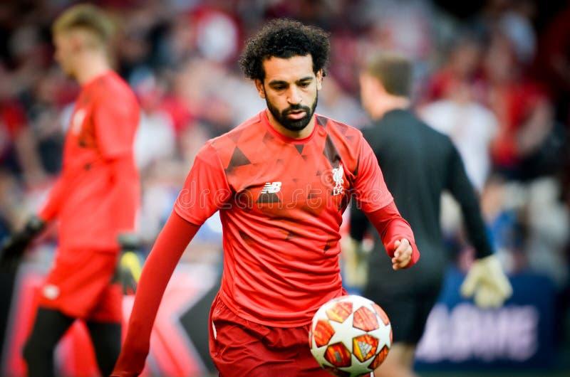 Мадрид, Испания - 1-ОЕ МАЯ 2019: Mohamed Salah во время финального матча 2019 лиги чемпионов UEFA между FC Ливерпулем против Tott стоковые изображения