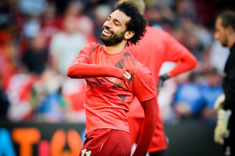 Мадрид, Испания - 1-ОЕ МАЯ 2019: Mohamed Salah во время финального матча 2019 лиги чемпионов UEFA между FC Ливерпулем против Tott стоковое изображение rf