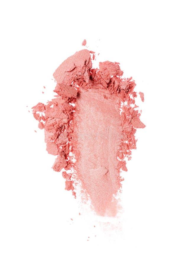 Мазок задавленных сияющих розовых теней для век как образец косметического продукта стоковые фото