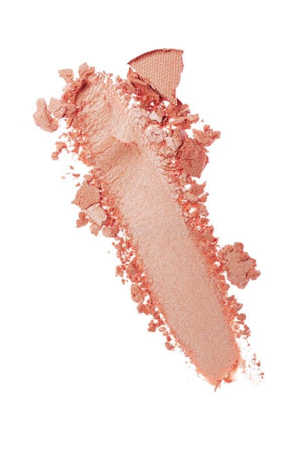 Мазок задавленных сияющих розовых теней для век как образец косметического продукта стоковое изображение rf