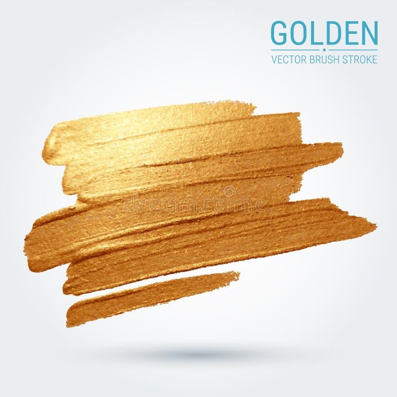 Мазок с художественной щеткой brushstroke Золотое пятно Гениальная текстура grunge бесплатная иллюстрация