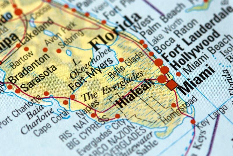 Майами на карте стоковые фотографии rf