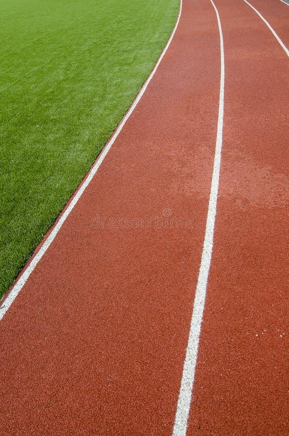 Майны идущего следа резиновые в искусственном стадионе травы стоковые изображения