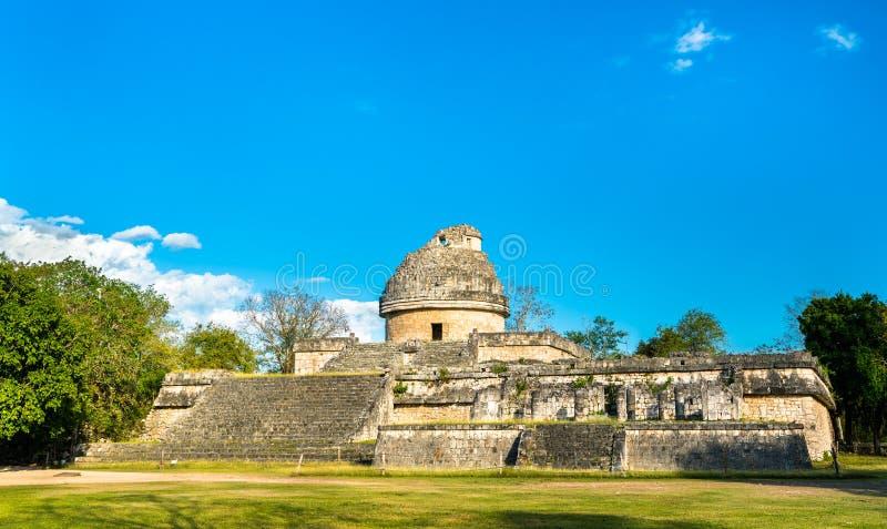 Майяская обсерватория El Caracol на Chichen Itza в Мексике стоковое фото