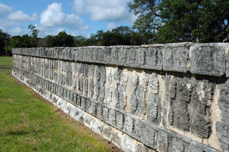 майяская стена черепов стоковая фотография