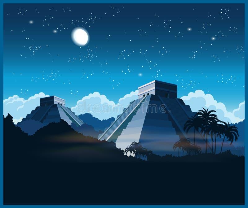 Майяские пирамиды на ноче иллюстрация штока