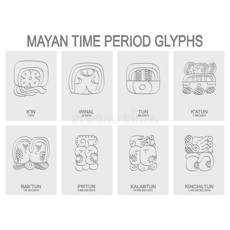 майяский период времени и связанные глифы иллюстрация штока