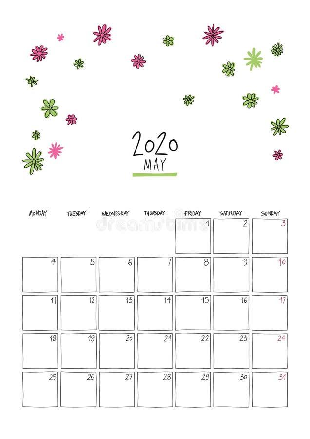Май 2020 года: календарь doodle wall иллюстрация штока
