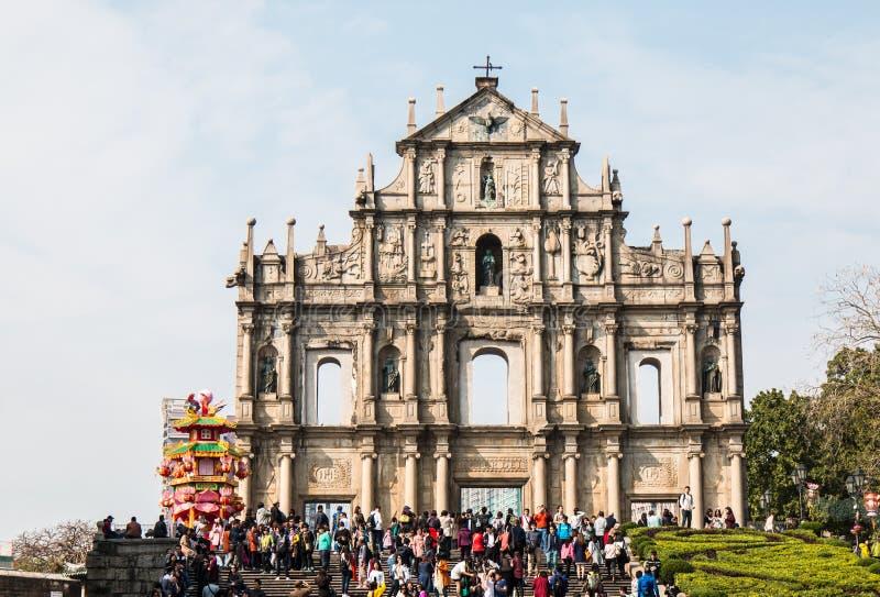 МАКАО - Th 2016 Feburary 28: Руины собора ` s St Paul стоковое изображение