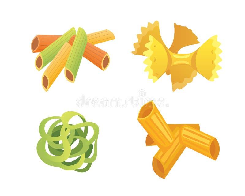 Макаронные изделия вектора установленные итальянские в стиле шаржа Разные виды и формы макарон с Равиоли, спагетти, tortiglioni иллюстрация вектора
