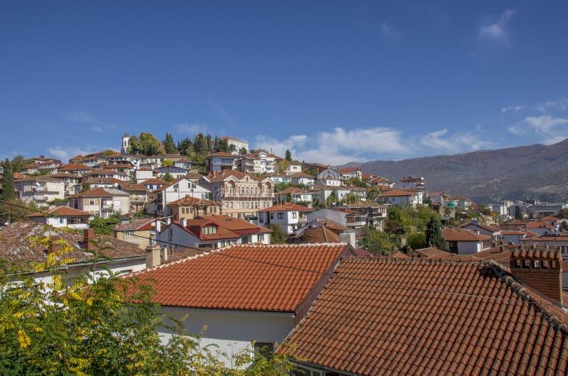 Македония, часть †Ohrid «старая историческая городка стоковое фото rf