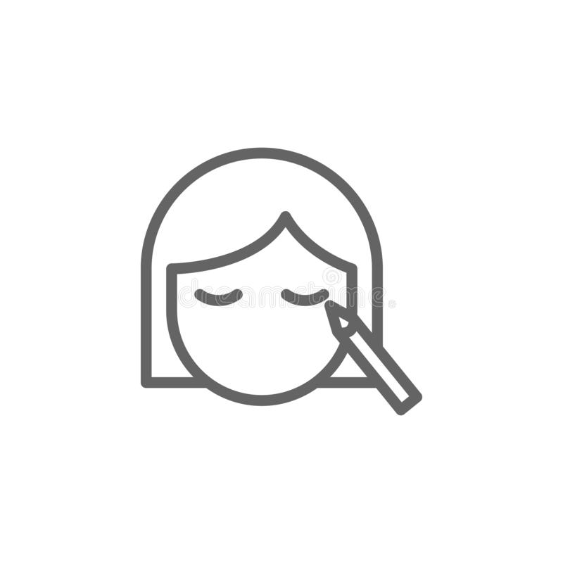 Макияж, значок плана женщины Элементы значок иллюстрации красоты и косметик Знаки и символы можно использовать для сети, логотипа иллюстрация штока