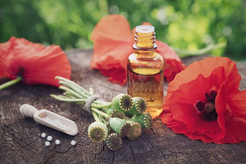 Маки, головы цветка мака, бутылка вливания и ветроуловитель гомеопатических глобул стоковая фотография