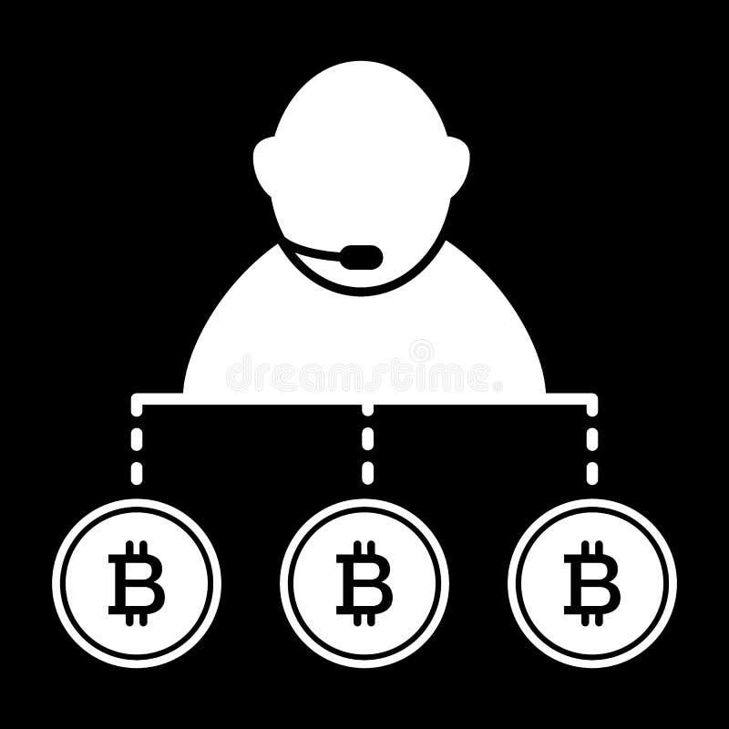 Маклер, персона, обмен, значок твердого тела bitcoin Иллюстрация вектора изолированная на черноте дизайн стиля глифа, конструиров иллюстрация штока