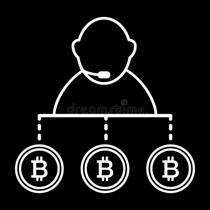 Маклер, персона, обмен, линия значок bitcoin Иллюстрация вектора изолированная на черноте дизайн стиля плана, конструированный дл иллюстрация вектора
