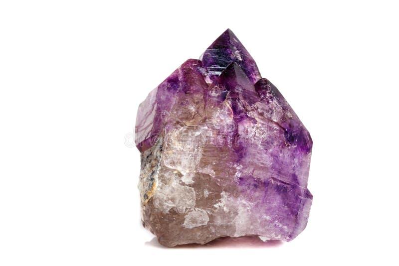 Макроса минеральный каменный аметиста кварц совместно закоптелый, rauchtopaz на белом конце предпосылки вверх стоковое изображение rf