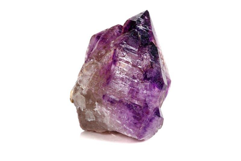 Макроса минеральный каменный аметиста кварц совместно закоптелый, rauchtopaz на белом конце предпосылки вверх стоковая фотография rf