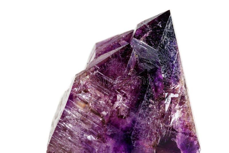 Макроса минеральный каменный аметиста кварц совместно закоптелый, rauchtopaz на белом конце предпосылки вверх стоковые изображения rf