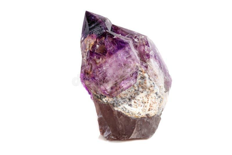 Макроса минеральный каменный аметиста кварц совместно закоптелый, rauchtopaz на белом конце предпосылки вверх стоковые фотографии rf