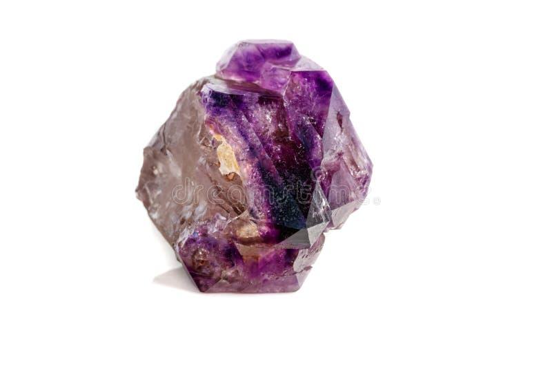 Макроса минеральный каменный аметиста кварц совместно закоптелый, rauchtopaz на белом конце предпосылки вверх стоковые фото