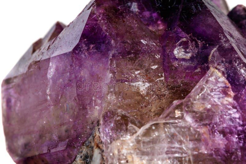 Макроса минеральный каменный аметиста кварц совместно закоптелый, rauchtopaz на белом конце предпосылки вверх стоковые изображения