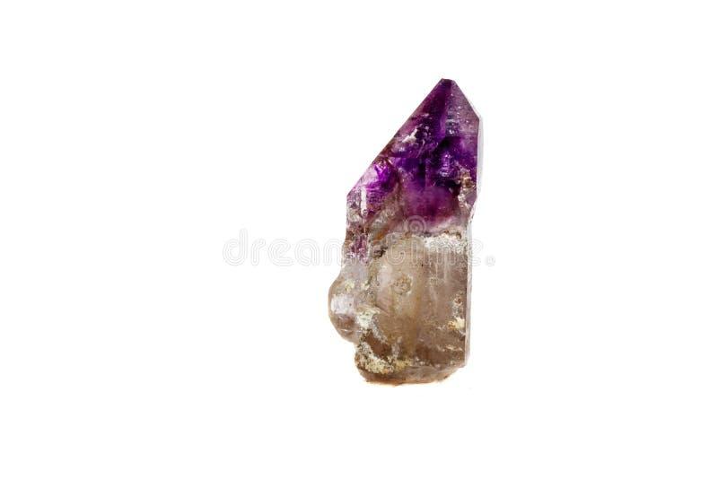 Макроса минеральный каменный аметиста кварц совместно закоптелый, rauchtopaz на белом конце предпосылки вверх стоковое фото
