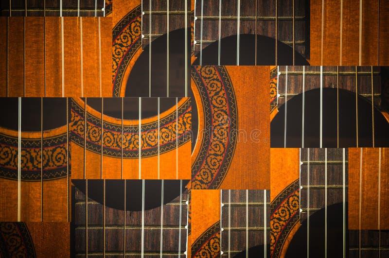 Макрос акустической гитары шнурует картину стоковые изображения