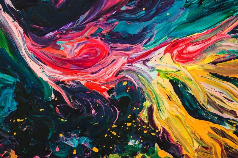 Макрос близкий вверх краски масла другого цвета красочный acrylic Концепция современного искусства бесплатная иллюстрация