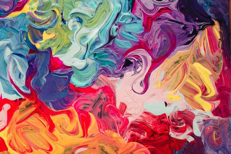 Макрос близкий вверх краски масла другого цвета красочный acrylic Концепция современного искусства иллюстрация вектора