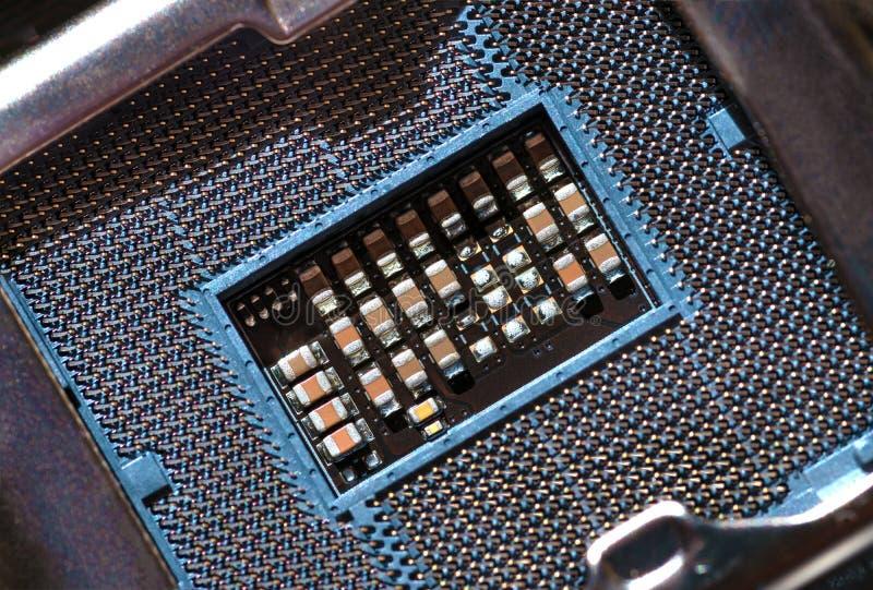 Макрос гнезда C.P.U. Гнездо C.P.U. главные компоненты компьютера Электронная предпосылка стоковые фото