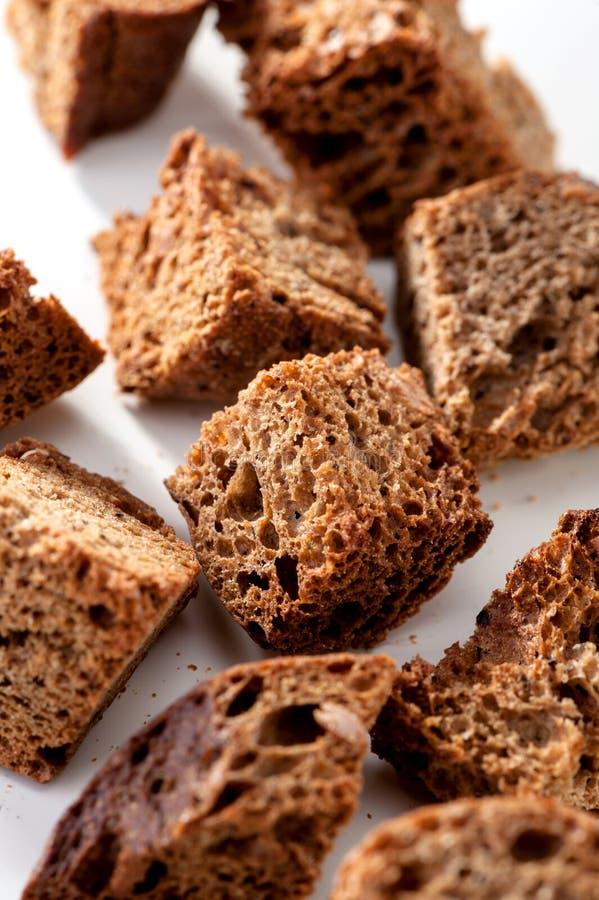 Макрос гренков темного хлеба стоковое фото