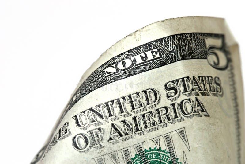макрос доллара 5 счета стоковое фото