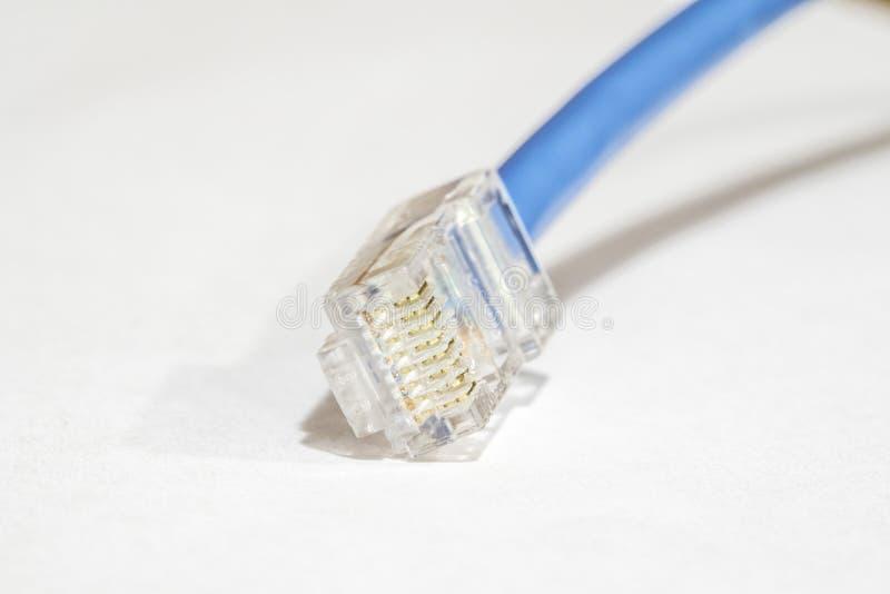 Макрос кабеля Cat5 категории 5 локальных сетей стоковая фотография