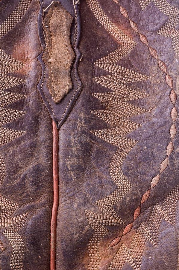 макрос кожи ковбоя ботинка старый стоковое изображение