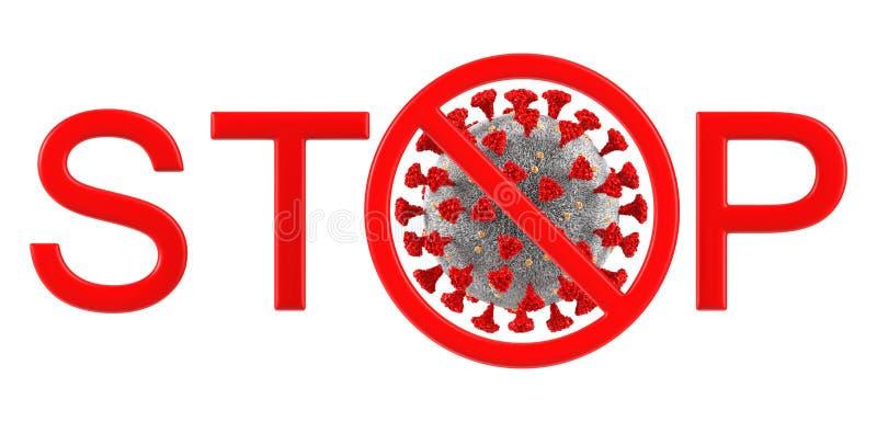 Макрос коронавируса с текстовым STOP с запрещающим знаком Трехмерная иллюстрация Коронавируса КОВИД-19 иллюстрация вектора