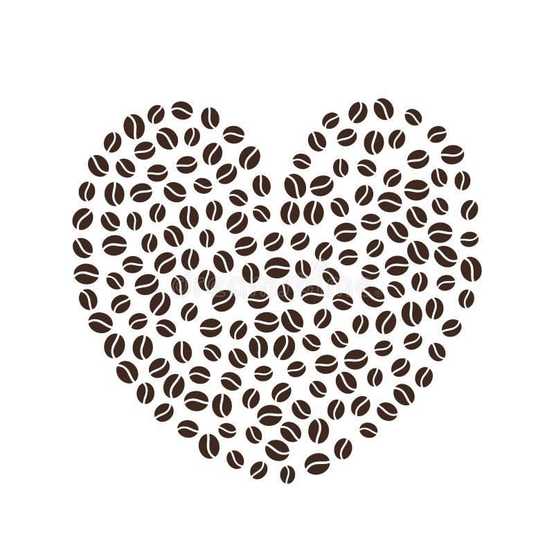 макрос кофе завтрака фасолей идеально изолированный над белизной иллюстрация штока