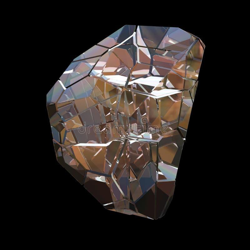 Макрос крупного плана группы изумительной красочной ауры Aqua пламени радуги кварца диаманта голубой кристаллический на черной пр иллюстрация вектора