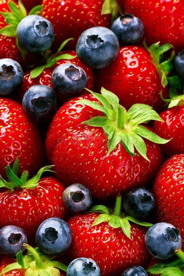 Макрос крупного плана вкусной зрелой красной клубники с свежим голубым Berri стоковые изображения