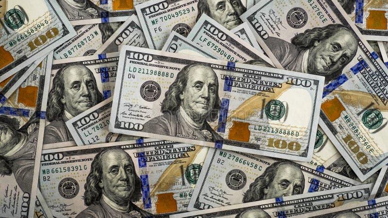 Макрос снятый 100 долларов Доллары концепции крупного плана Американские доллары денег наличных денег пиратсва Предпосылка 100 до стоковая фотография