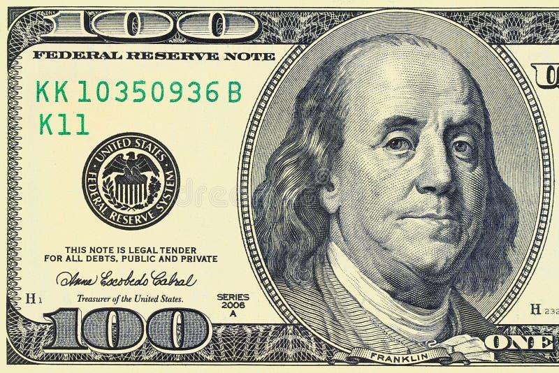 Макрос снятый 100 долларов стоковые изображения