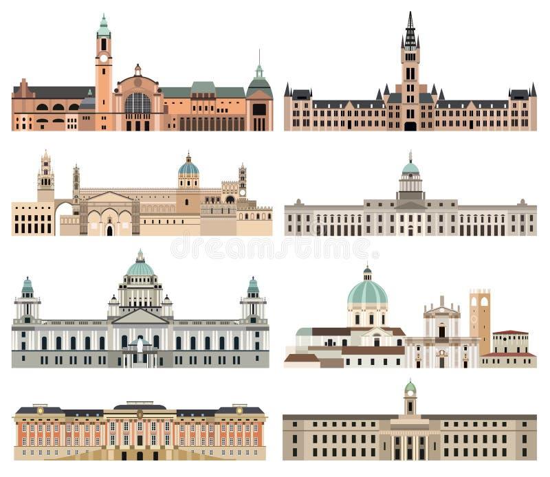Максимум собрания вектора детализировал изолированные городские ратуши, ориентиры, соборы, виски, церков, дворцы и другие элемент иллюстрация вектора