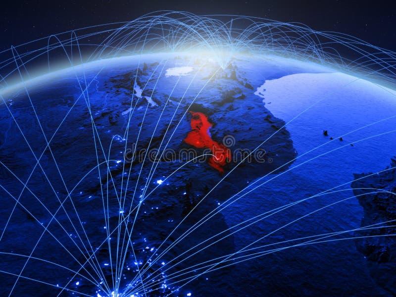 Малави на голубой цифровой земле планеты с международной сетью представляя сообщение, перемещение и соединения иллюстрация 3d стоковое фото rf