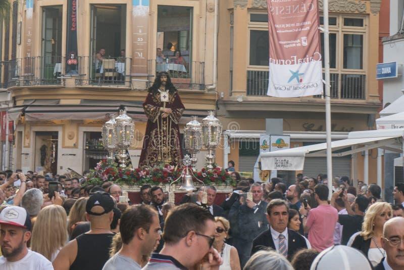 Малага, Испания - 24-ое июня: Статуя будучи приниманной Иисуса Христоса стоковое изображение