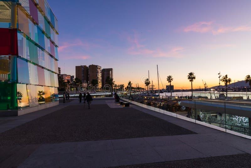 МАЛАГА, ИСПАНИЯ - 1-ОЕ ЯНВАРЯ 2018: Центр Pompidou в Малаге, курорте стоковое фото