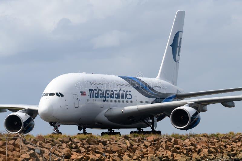 Малайзийский аэробус A380 авиакомпаний стоковые изображения rf